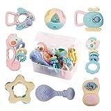 Baby Rassel Beißringe Set Spielzeug - 8 PCS Neugeborenes Baby Spielzeug 0-6 Monate Baby Sensorische Spielzeuge mit Aufbewahrungsbox Frühes Lernspielzeug für 3,6,9,12 Monate Jungen Mädchen Kleinkinder