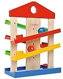 Eichhorn Kugelbahn-Haus, 4-teilig, bunte Rollbahn aus Holz mit Glocke und drei Kugeln Lindenholz, Motorikspielzeug für Kinder ab 1 Jahr, Größe: 25 x 34 cm