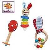 Eichhorn - Baby Starter/Geschenke Set mit Maraca, Greifling mit Sound und Greifling mit Hasenmotiv, 3-teilig, ab 3 Monaten