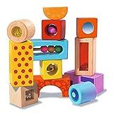 Eichhorn Holz-Soundbausteine, 12 bunt bedruckte Klangbausteine mit verschiedenen Geräuschen, Bausteine aus Birkenholz für Kinder ab 12 Monaten